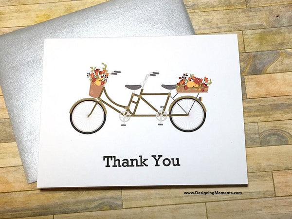 Tandem Bicycle Thank You Cards