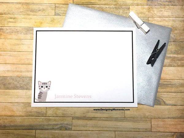 Gray Kitten Personalized Cards