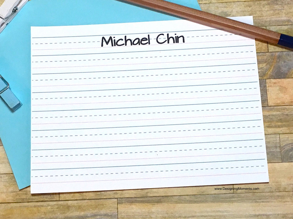 Lined Paper Personalized Note Cards for Kids