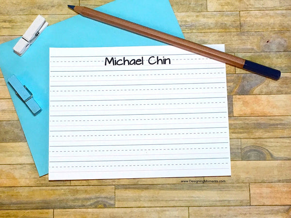 Lined Paper Personalized Note Cards