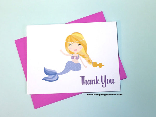Purple Mermaid Thank You Cards
