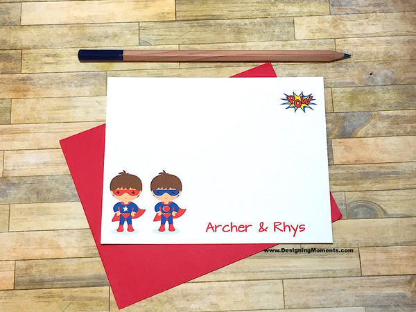 Twin Super Hero Personalized Stationery