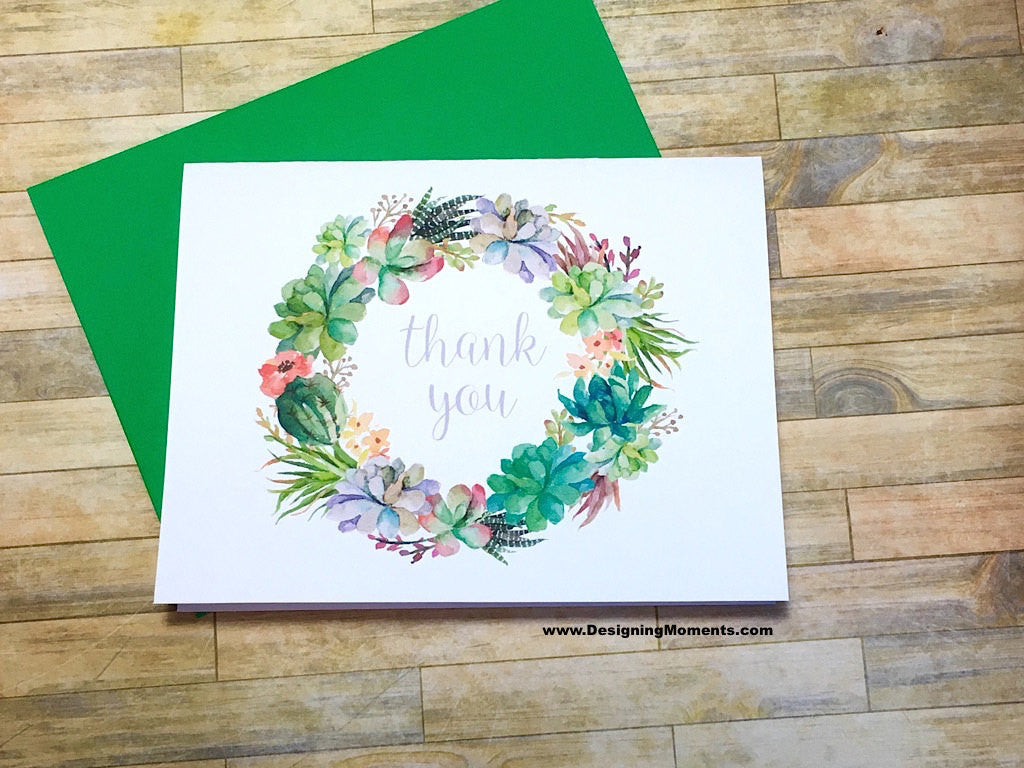 Succulent Wreath Thank You Cards Designing Moments