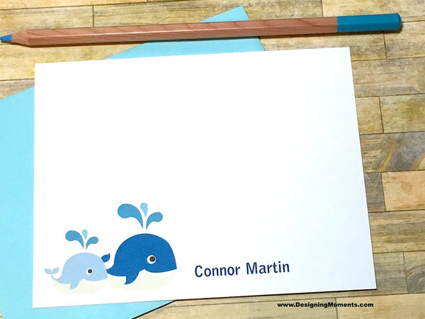 Mommy & Baby Whale Personalized Note Cards