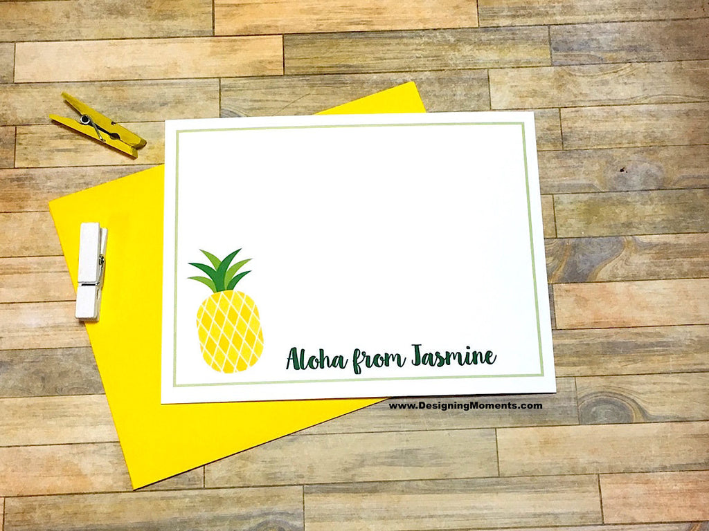 Pineapple Personalized Note Cards