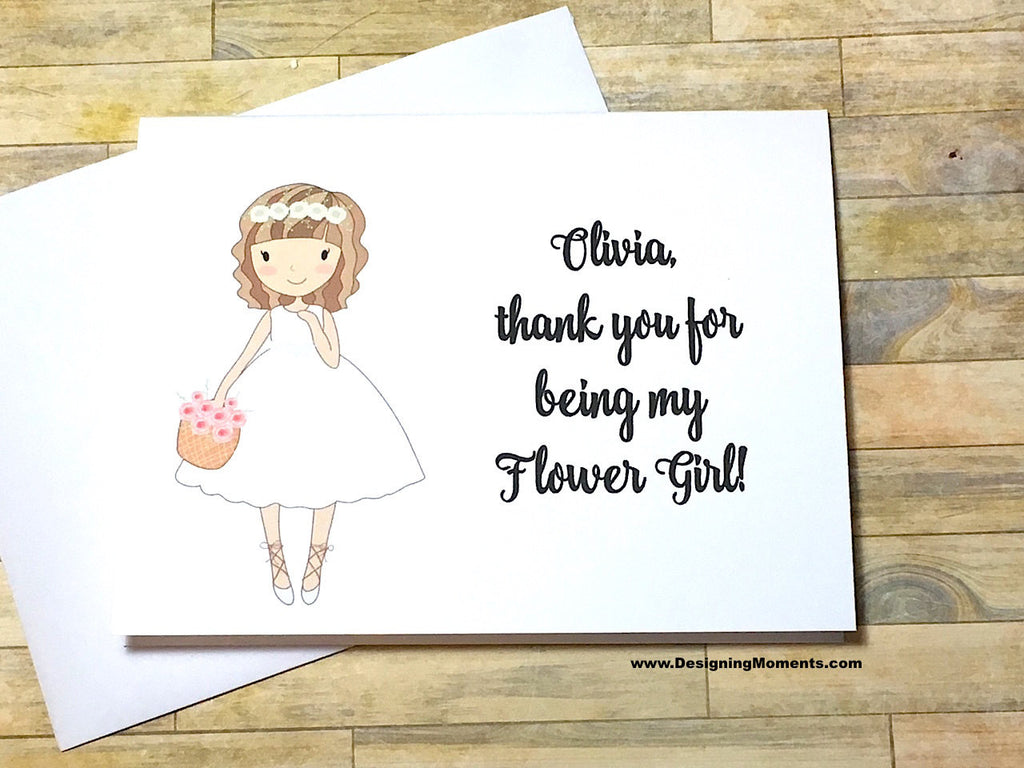 Flower Girl Thank You Card with Personalized Name