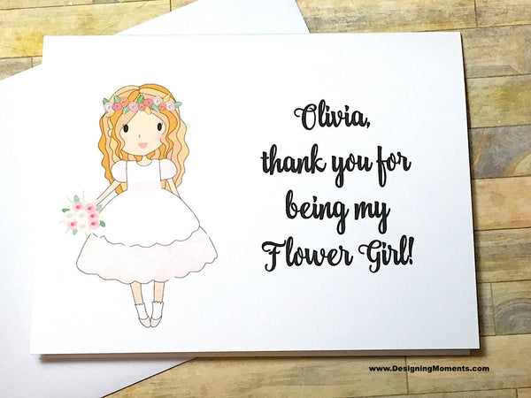 Flower Girl Personalized Thank You Card