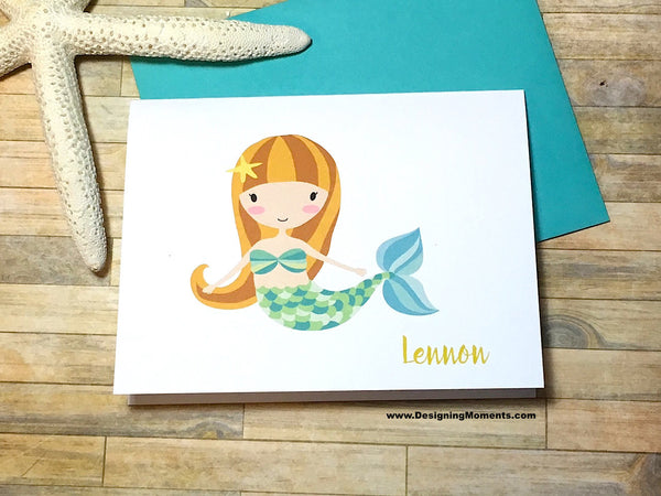 Green Mermaid Personalized Note Cards