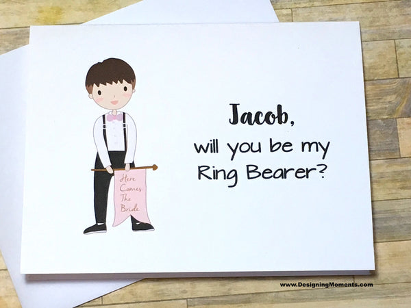 Ring Bearer with Flag Personalized Proposal Card