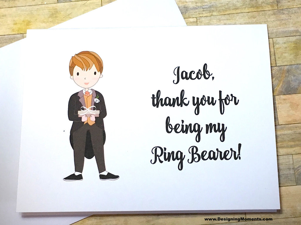 Ring Bearer in Black Tux Personalized Thank You Card