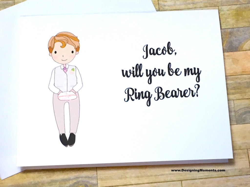 Ring Bearer in White Suit Personalized Proposal Card