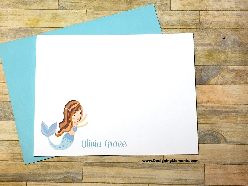 Blue Mermaid Personalized Flat Cards for Girls