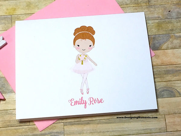Ballerina Personalized Note Cards