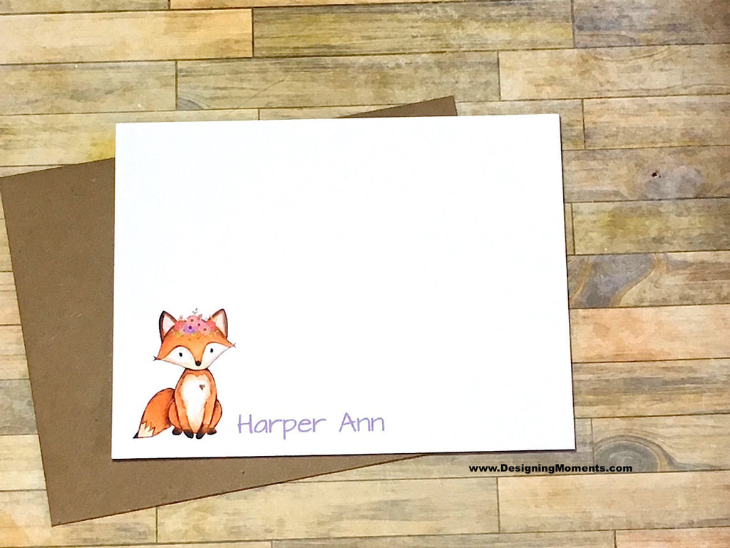 Fox Girls Watercolor Personalized Note Cards