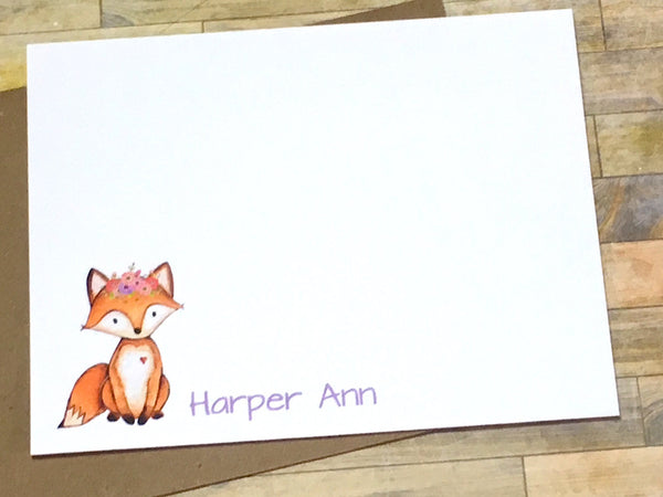Fox Personalized Note Cards