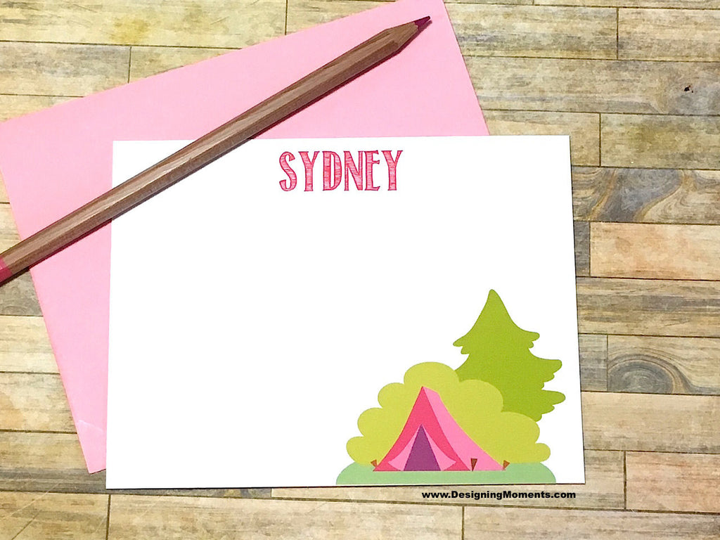Camp Tent Personalized Note Cards