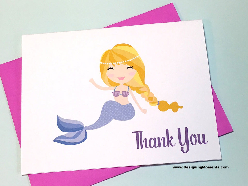 Purple Mermaid Tail Thank You Cards