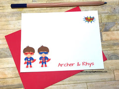 Twin Boys Super Hero Personalized Stationery