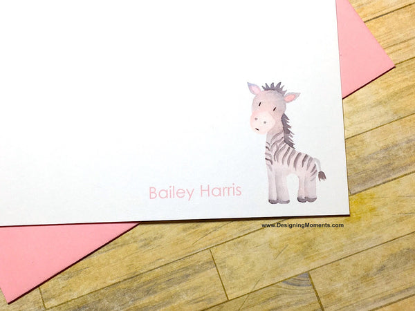 Watercolor Zebra Personalized Flat Cards