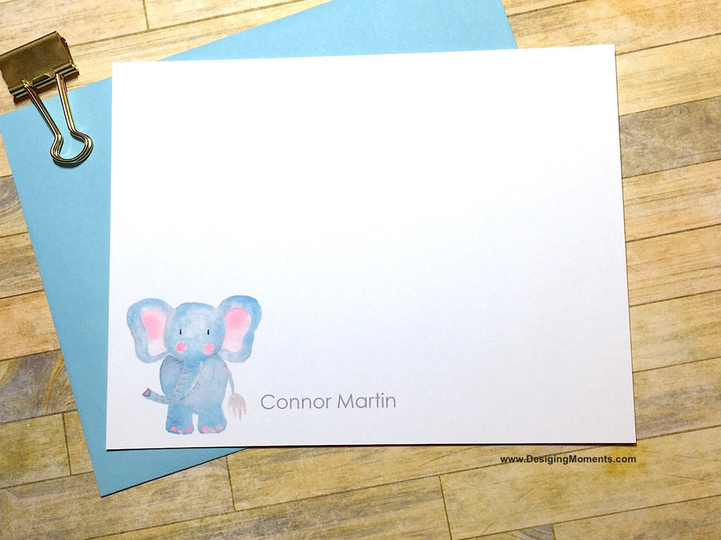 Watercolor Elephant Personalized Cards