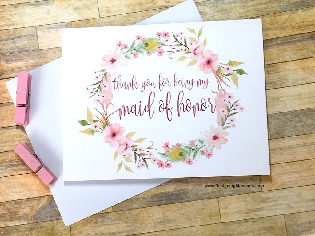 Boho Thank You for Being My Maid of Honor Card