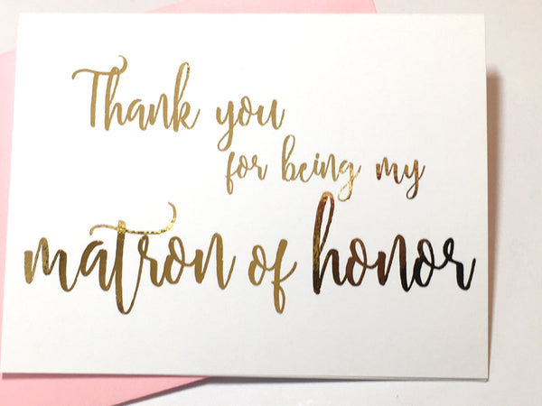 Thank You for Being My Matron of Honor