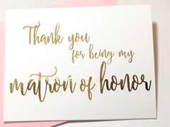 Script Gold Matron of Honor Thank You Card