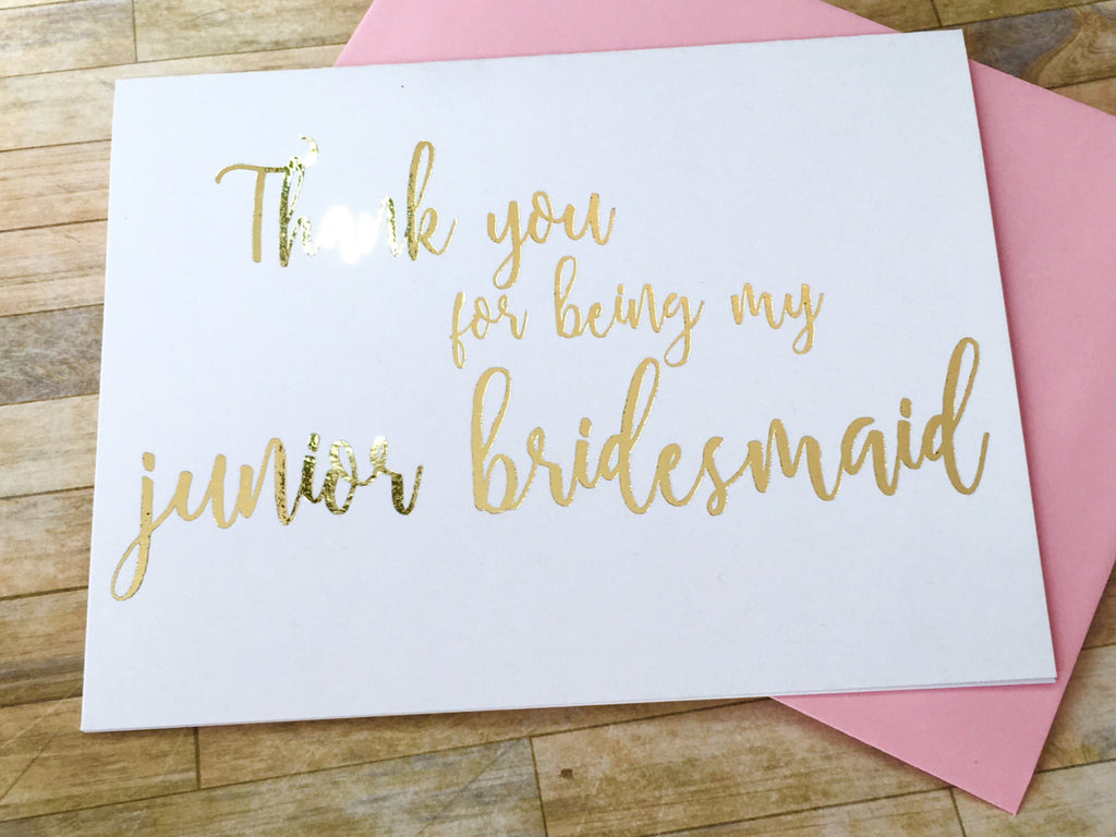 Script Foil Junior Bridesmaid Thank You Card