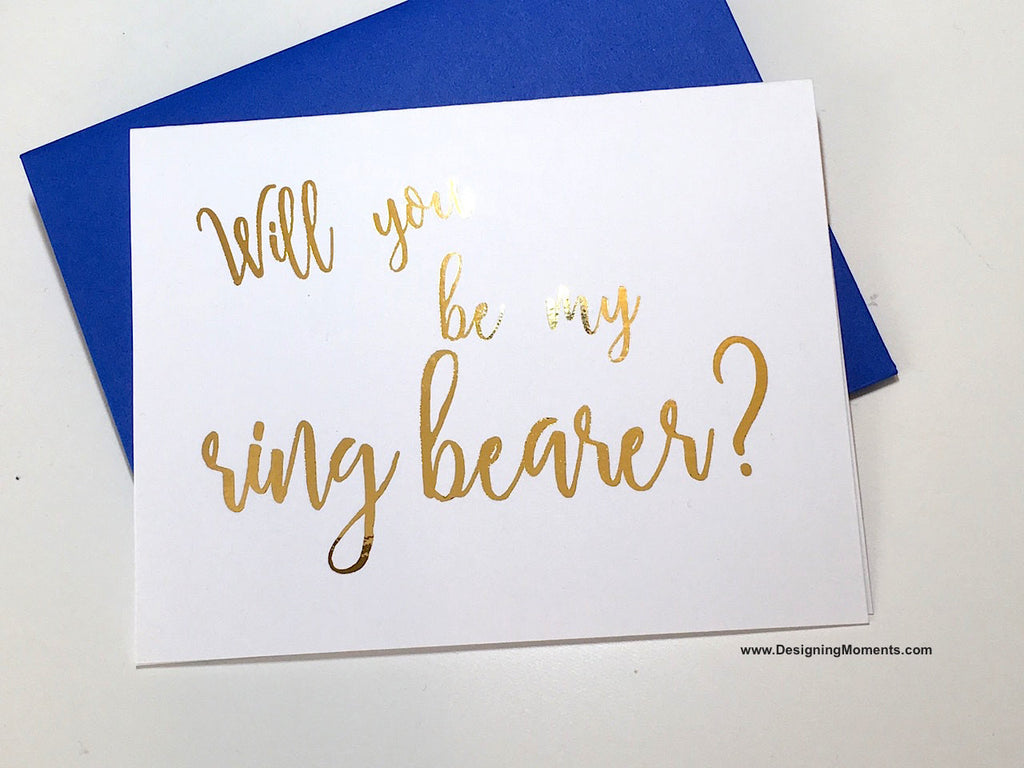 Script Foil Ring Bearer Proposal Card