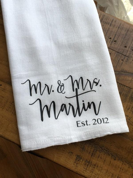 Mr. and Mrs. Personalized Tea Towel