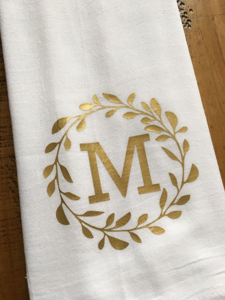 Letter Monogram Wreath Kitchen Towel in Gold