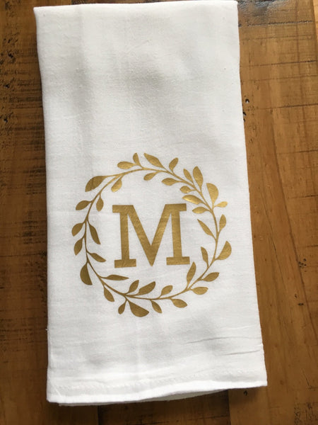 Monogrammed Wreath Kitchen Towel