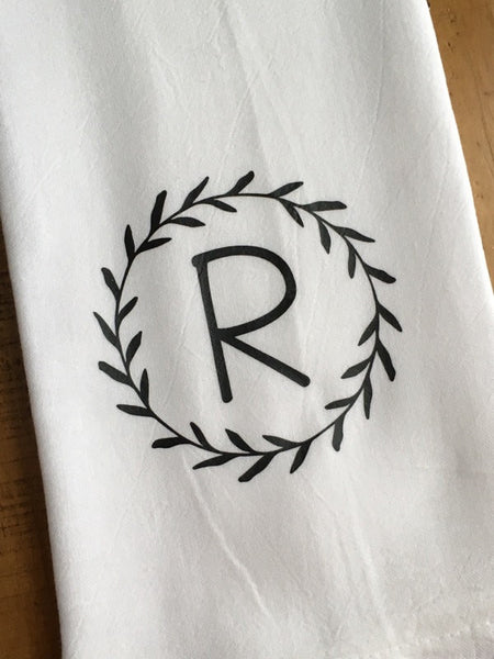 Custom Monogrammed Letter Laurel Wreath Tea Towel