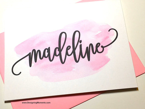 Watercolor Flourish Calligraphy Note Cards