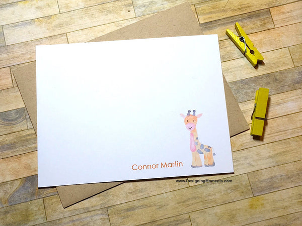 Giraffe Personalized Flat Cards