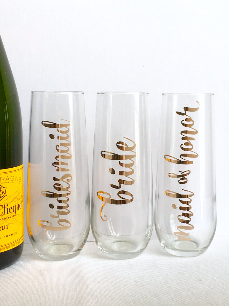 Rose Gold Foil Bridal Party Champagne Flutes