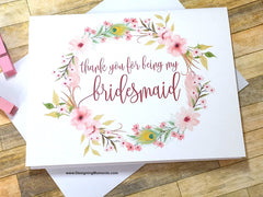 Boho Thank You for Being My Bridesmaid Card
