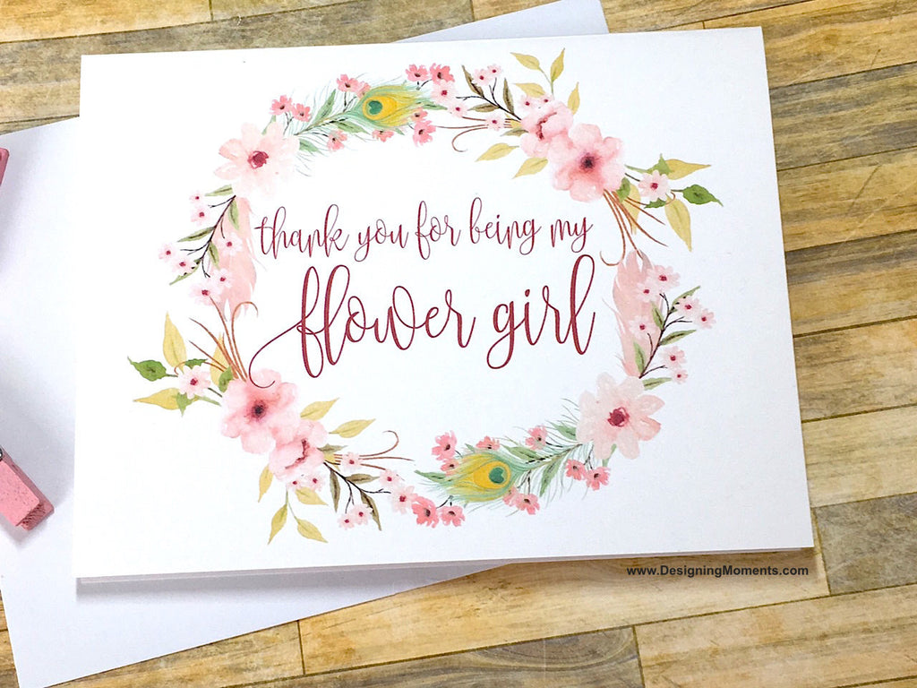 Boho Thank You for Being My Flower Girl Card