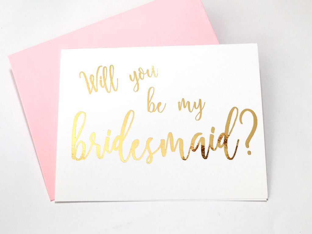 Gold Foil Bridesmaid Proposal Card