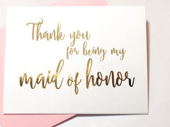 Script Gold Thank You for Being My Maid of Honor Card