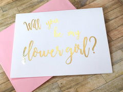 Gold Foil Flower Girl Proposal Card