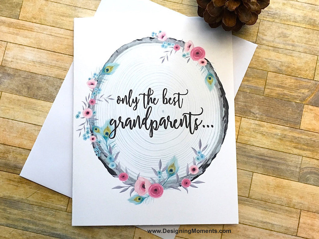 Pink Rustic Grandparents Get Promoted to Great Grandparents Card