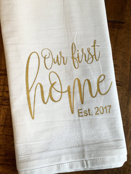 Our First Home Personalized Tea Towel