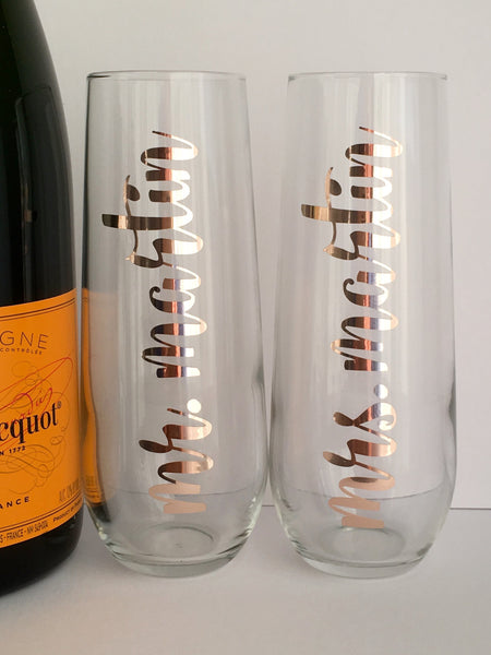 Personalized Mr. and Mrs. Champagne Flutes Set in Foil