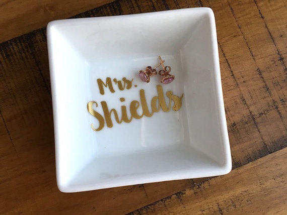 Personalized Name Ring Dish Engagement Gift