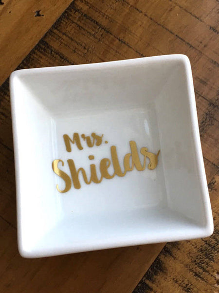 Mrs. Personalized Ring Dish