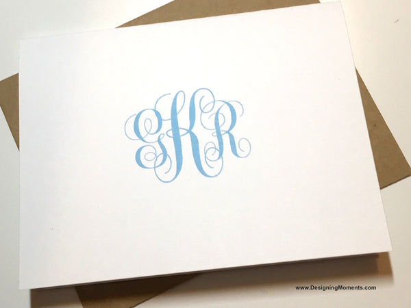 Baby Blue Monogram Flat Cards