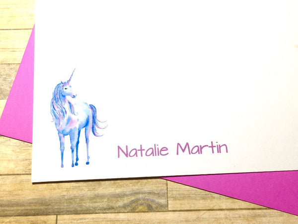 Personalized Unicorn Flat Cards