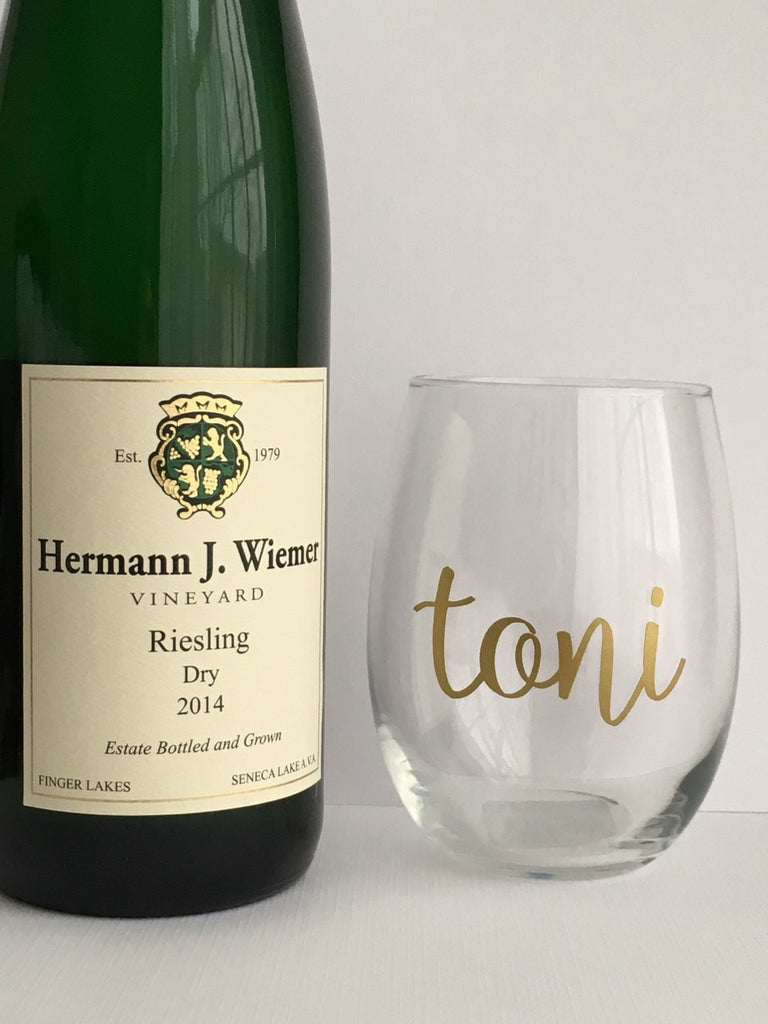 Gold Personalized Wine Glass