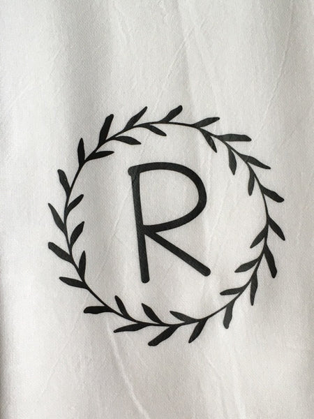 Monogrammed Laurel Wreath Tea Towel